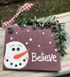 5932 - Believe Snowman Head Ornament
