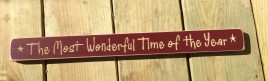 Primitive Engraved Wood Block G90302 - The Most wonderful time of the year