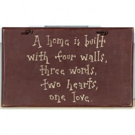 1025CP-A Home is Built with four walls wood sign