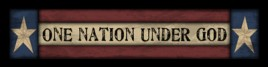 Primitive Wood Block  102N - One Nation Under God