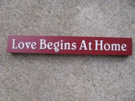 10612J - Love Begins At Home wood block