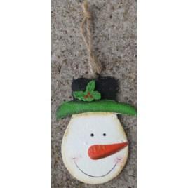 107031SH - Snowman w/Holly Top Hat Metal Ornament