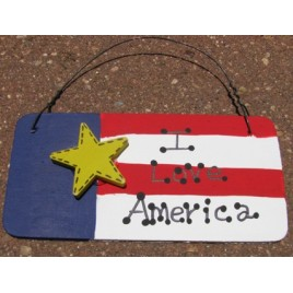 10977ILA - I Love America  Wood Sign