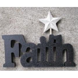 10979C - Faith wood Cutout with white metal star