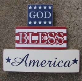 11539E - God Bless America set of 3 blocks