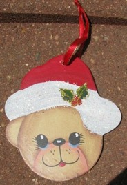 Wood Christmas Ornament 1160 - Bear with Hat