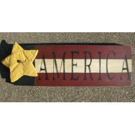 116PFA - Patriotic Flag Wood Sign