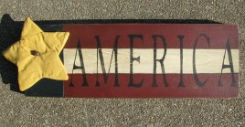 116PFA - Patriotic Flag Wood Sign