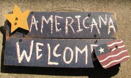 123 - Americana Welcome Wood Sign