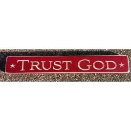 12347 Trust God engraved wood block