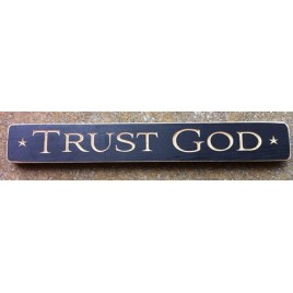 12347B Trust God engraved wood block