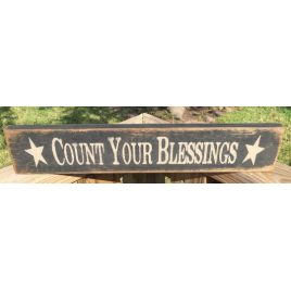 Primitive Wood Vintage Sign Count Your Blessings