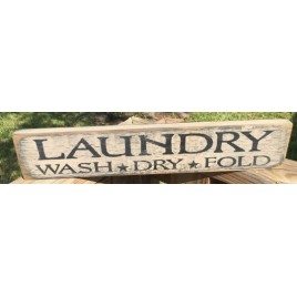 Primitive Wood 12661  Laundry Wood Wash*Dry*Fold Sign