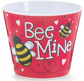 Valentine Plastic Pot Cover - 1287303 - Bee Mine Pot Cover