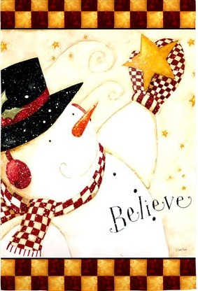131437 - Believe Primitive Snowman House Flag
