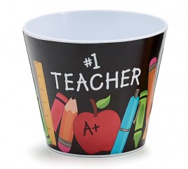 Teacher Gifts 1421303 #1 Teacher on front with message on back. Plastic Pot
