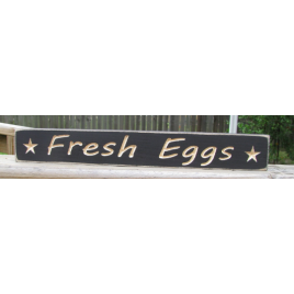 Primitive Wood Engraved Block 1631  Fresh Eggs