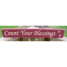 Primitive Engraved Wood Block  1690 Count Your Blessings