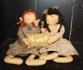 Primitive Decor KLY17004- Best Friends Doll