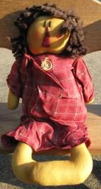 17034RC - Primitvie Red Plaid Dress Rag Doll
