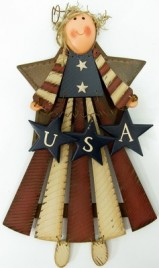 20144PA  Patriotic  Angel USA wood and metal