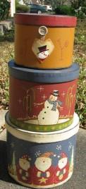 Christmas Decor Primitive Nesting boxes 207967 Snowman and Santa set of 3 boxes