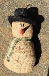 Burlap Snowman Ornament