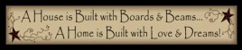 220AHIB- A House is Built with boards and beams...A home is built with love and dreams wood block