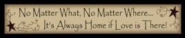 222NMW - No Matter What, No matter where...It's always home if love is there!  wood block