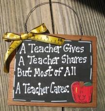 Teacher Gifts  24104 A Teacher Cares Wood Slate