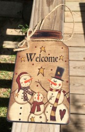 Christmas Decor 2417W Primitive Snowman Mason Jar Sign - Welcome