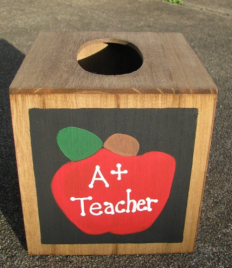 Teacher Gifts 2711AP A +  Apple  TIssue Box Cover