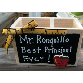 Teacher Gifts  2729DC  Mrs. Dalton Best Principal Ever! Supply Wood Box