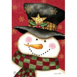House Flag 2803 Holly Jolly Snowman House Flag