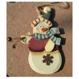 Wood Snowman Ornament 2813RV - Snowman Red Vest Snowman