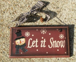 28927LIS - Let It Snow wood sign