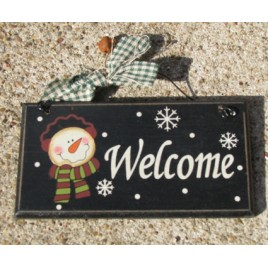 28927W - Welcome  snowman wood sign