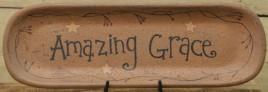 Primitive Wood Oval Plate 30860- Amazing Grace