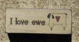 31392U - I Love Ewe wood block