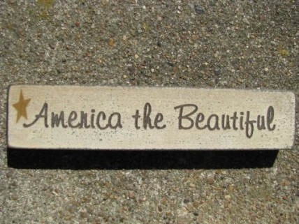 Patriotic wood block 31397ATB-America The Beautiful