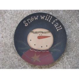31430CS-Snow will fall Snowman Plate