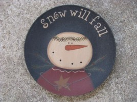 31430CS-Snow will fall Snowman Plate