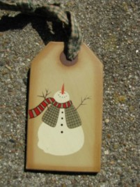 31617s  Snowman Wood Gift Tag