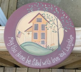 31662M-May this Home be filled with love and laughter wood plate