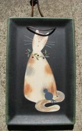 Primitive Wood Cat Plate 31720B - Black Cat