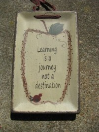 32093L- Learning is a Journey not a destination wood plate