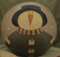 32330SJG- Snowman Wood Green  Ball Decorative