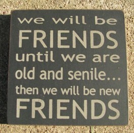32362FB-We will be friends until we are old and senile...then we will be new friends wood block