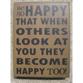 32416G - Be Happy wood box sign