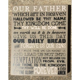 Primitive Wood Box Sign 32710 The Lord's Prayer